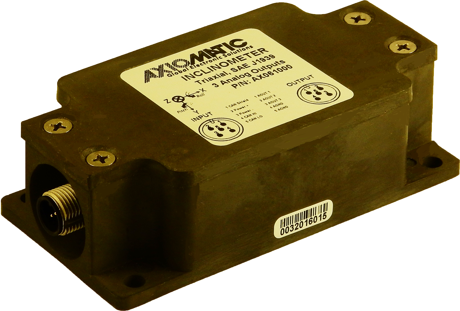 Triaxial Inclinometer, Analog Outputs, SAE J1939